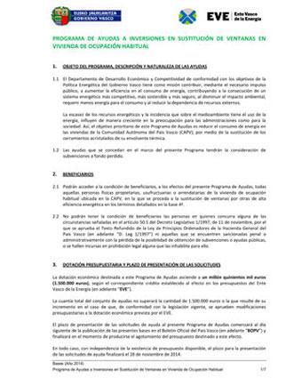 Bases Plan Renove Ventanas 2015 País Vasco